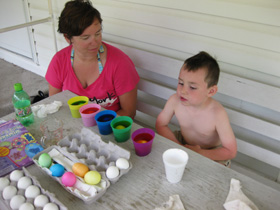 Zander dyes Easter eggs