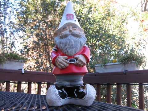 NC State yard gnome (back deck)