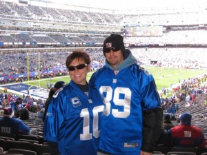 Merri Beth and Jason ready to watch the NY Giants play