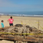 A shipwreck washed ashore in Nags Head
