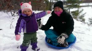 Coco and Merri Beth enjoy the snow