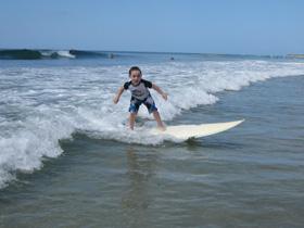 Zander catches his first wave at Playa Avellana